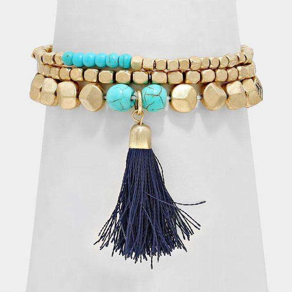 Triple Layer Tassel Drop Stretch Bracelet