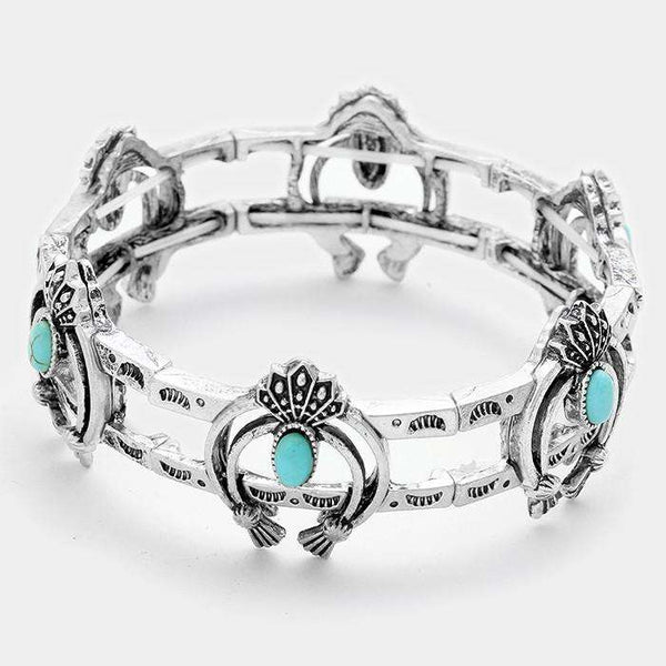 Turquoise Tribal Metal Double Horn Stretch Bracelet
