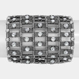 Wide Metal Stretch Bracelet With Crystals