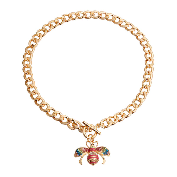 Gucci Style Rainbow Bee Charm Necklace