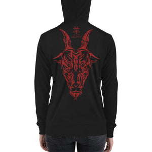Year of the Goat - Tribal Design - Lightweight Modern Fit Unisex Zip Hoodie