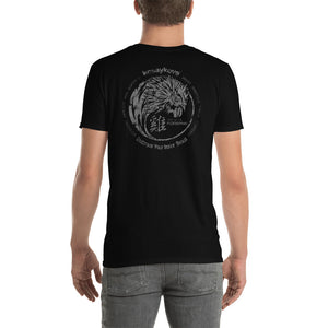 Year of the Rooster Unisex T-Shirt - YIN YANG in Mono Grunge Back Print