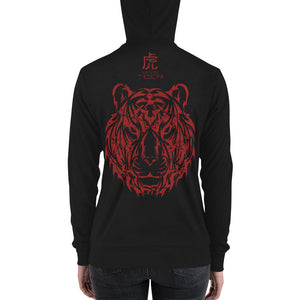 Year of the Tiger - Tribal Design - Lightweight Modern Fit Unisex Zip Hoodie