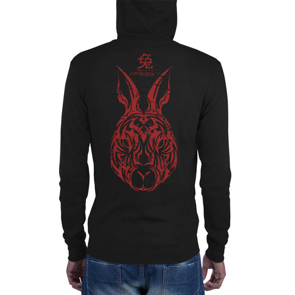 Year of the Rabbit - Tribal Design - Lightweight Modern Fit Unisex Zip Hoodie
