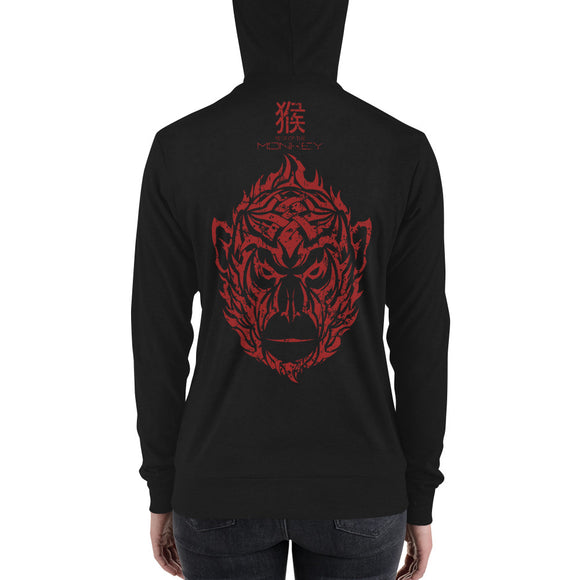 Year of the Monkey - Tribal Design - Lightweight Modern Fit Unisex Zip Hoodie
