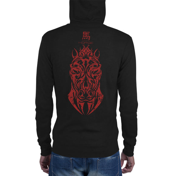 Year of the Horse - Tribal Design - Lightweight Modern Fit Unisex Zip Hoodie