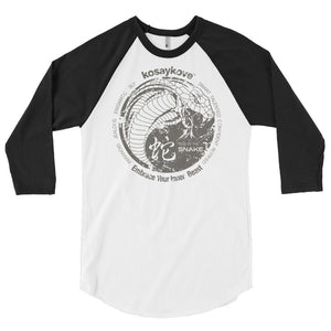 Year of the Snake Yin Yang Design - Unisex 3/4 Sleeve Raglan Shirt