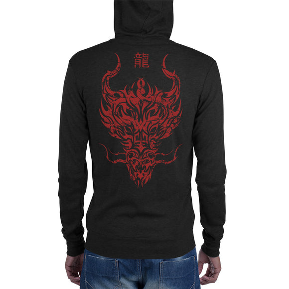 Year of the Dragon Chinese Zodiac  Zip Hoodie - Tribal Design - Lightweight Modern Fit