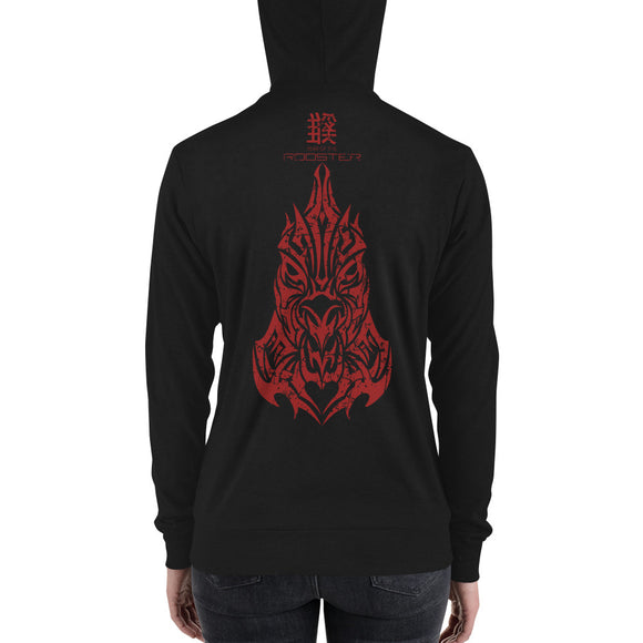Year of the Rooster - Tribal Design - Lightweight Modern Fit Unisex Zip Hoodie