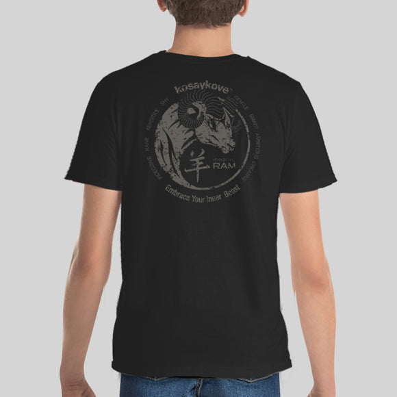 Year of the Goat/Ram - Yin Yang in Mono Back Print - Youth Lightweight Fashion T-Shirt