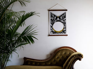 print on wall above chaise lounge
