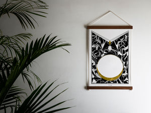 geometric print on wall