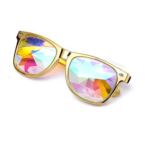 "UglyFace Unisex ""Festival Baby"" Kaleidoscope Diffracted Square Sunglasses"