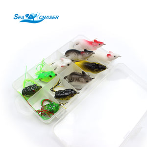 10pcs 10 Topwater Frog and Mouse Tackle Box Set