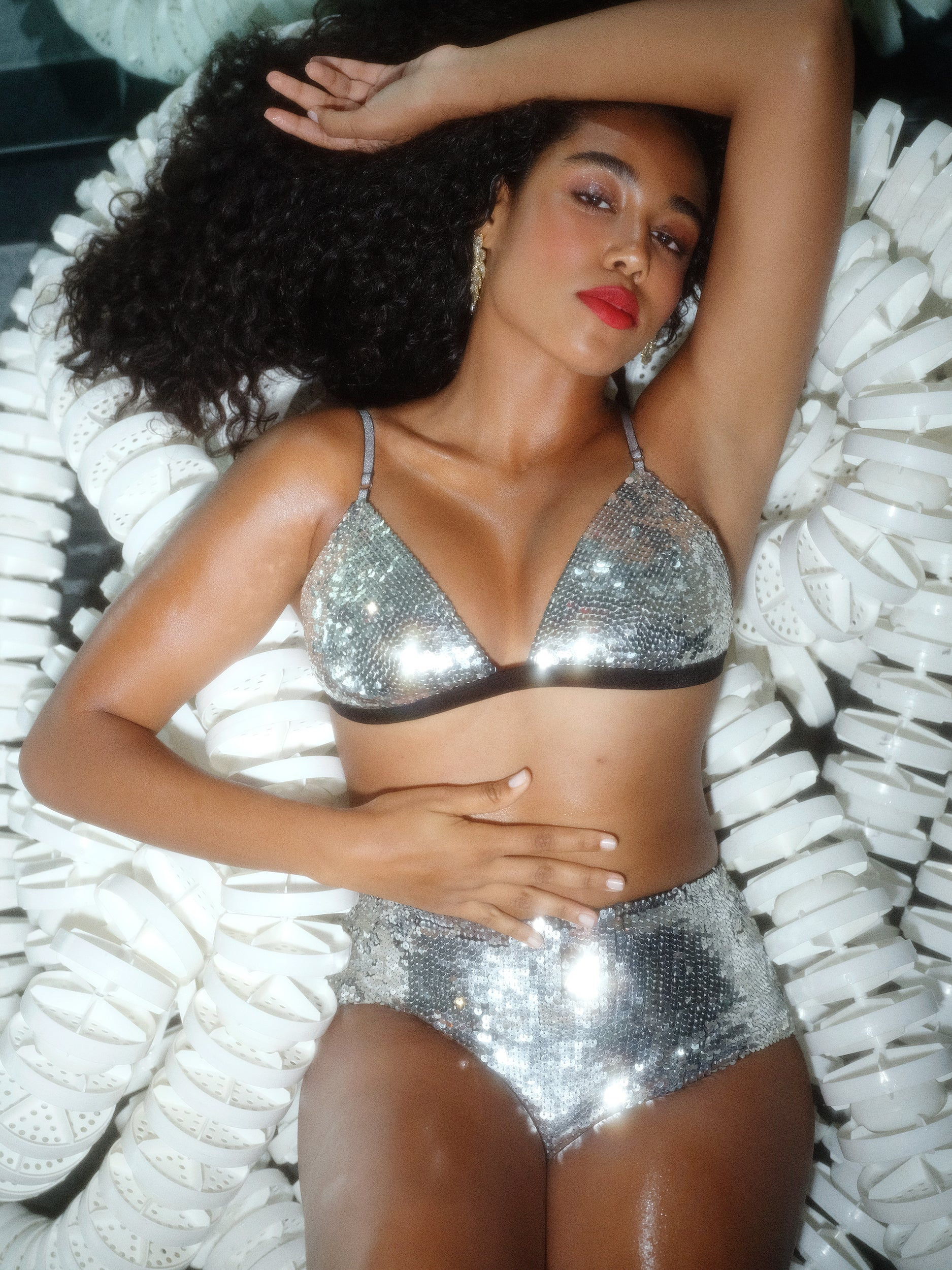 Ariel Triangle Bra - Silver Diamond