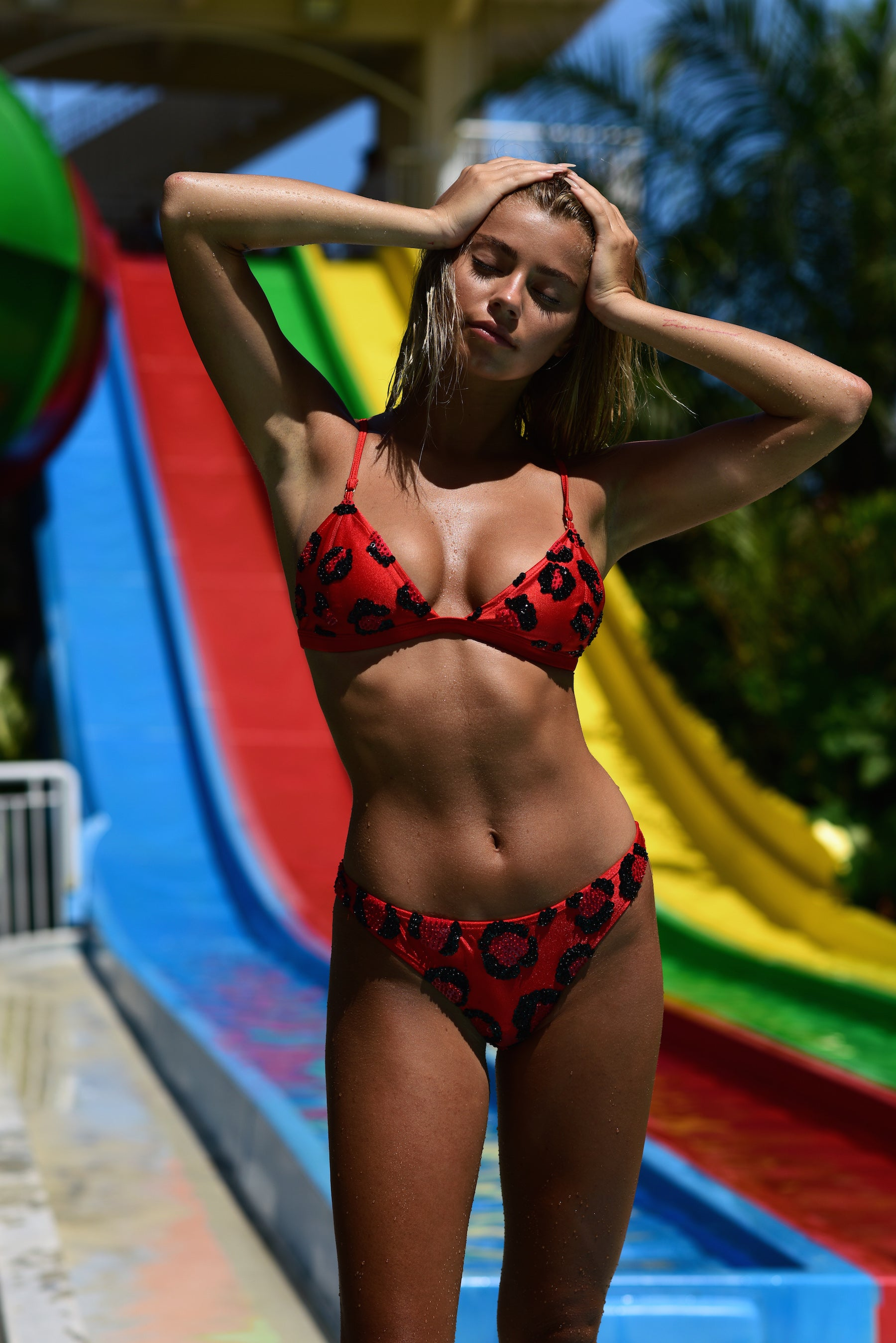 Ariel Triangle Bra - Red Leopard