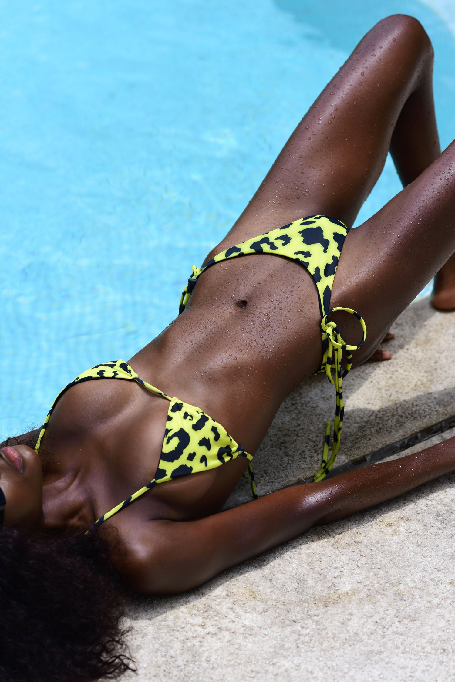 Elektra Tie Up Bottoms - Yellow Leopard