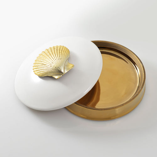 Refresh Moment Gold & Ceramic Flat Container with Lid