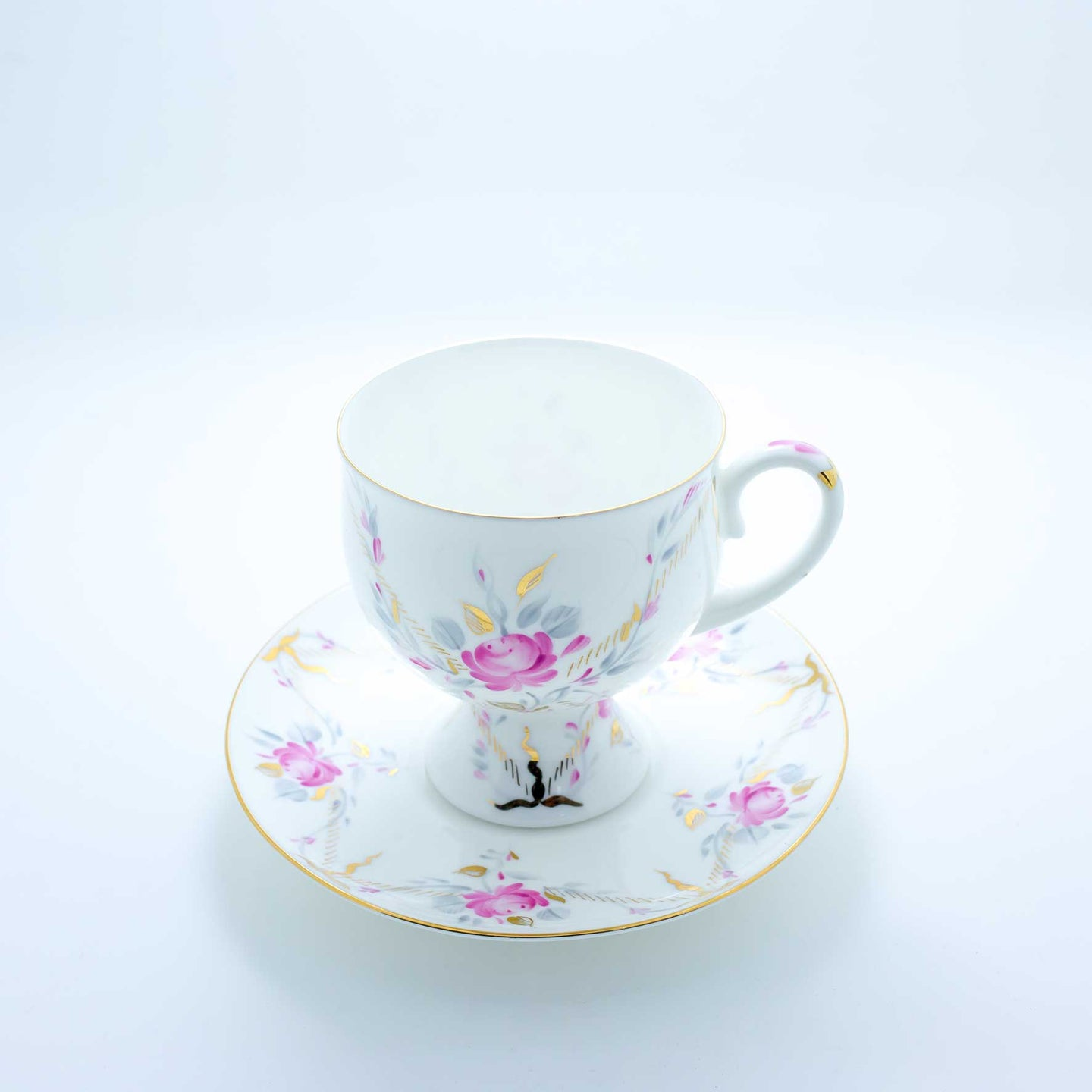 Refresh Moment Imperial Porcelain St. Petersburg 1744 Pink Bloom Teacup and Saucer