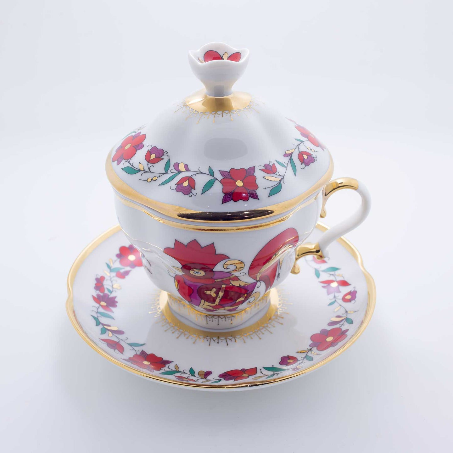 Refresh Moment Imperial Porcelain St. Petersburg 1744 Red Rooster Cover Up Teacup and Saucer