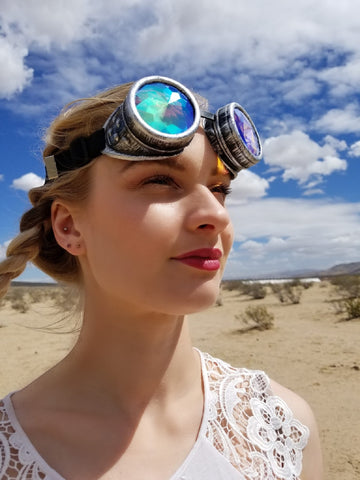 moonquail gray steampunk kaleidoscope goggles girl in desert burning man