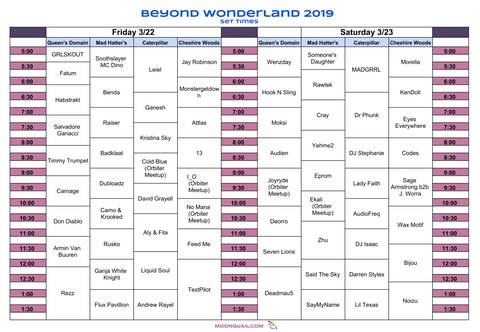 Beyond Wonderland 2019 Visual Artist Set Times Image