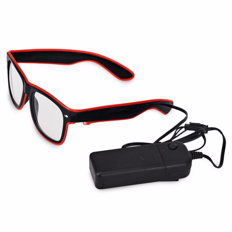 MoonQuail Red LED El Wire Diffraction Glasses