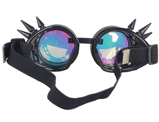 MoonQuail Black Spiked Kaleidoscope Rave Goggles