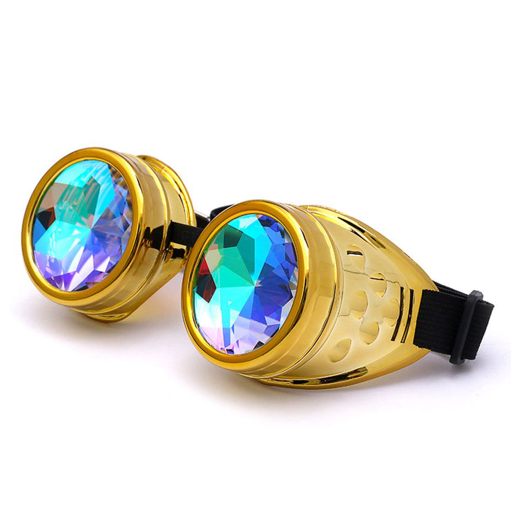 MoonQuail Gold Kaleidoscope Rave Goggles