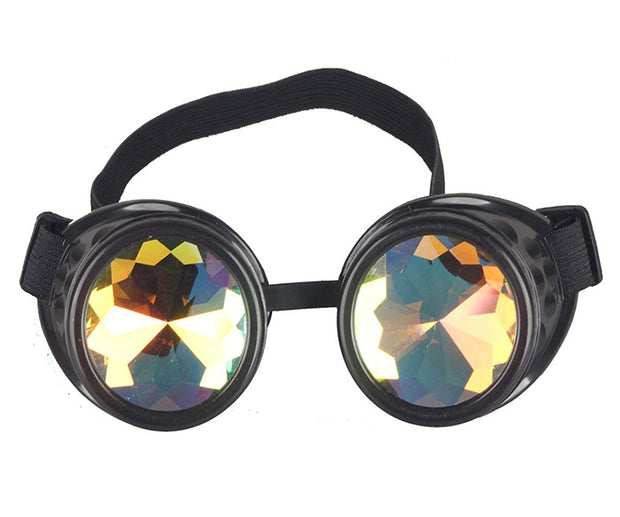 MoonQuail Black Kaleidoscope Rave Goggles