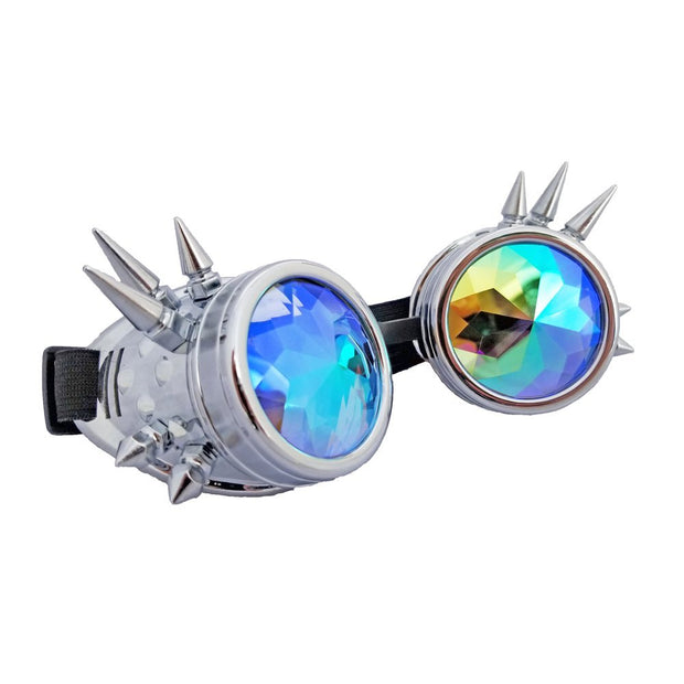 MoonQuail Silver Spiked Kaleidoscope Rave Goggles