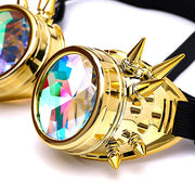 MoonQuail Gold Spiked Kaleidoscope Rave Goggles
