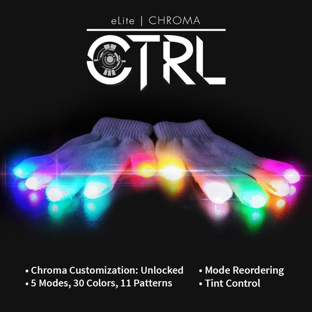MoonQuail EmazingLights elite chroma white LED gloves
