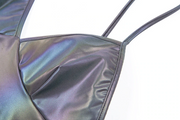 Women's Deep V Reflective Holographic Halter Top