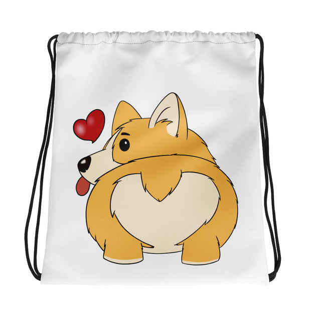Corgi Bum Drawstring Bag
