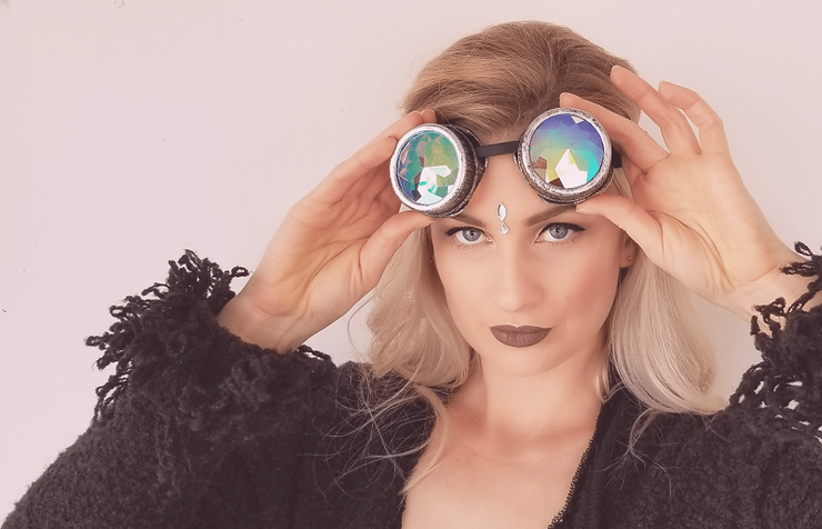 MoonQuail Gray Kaleidoscope Rave Goggles