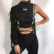 Reflective Crop Top One Shoulder with Buckle Choker Collar