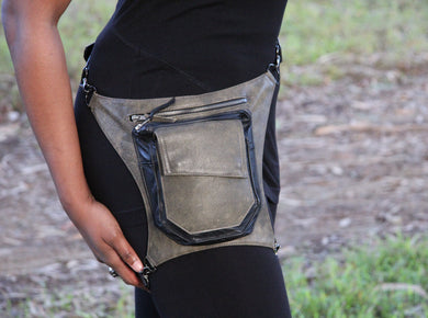 Distressed Leather Hip Bag Fanny Pack