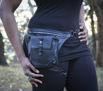 Leather Hip Bag with Studs Leg Fanny Pack