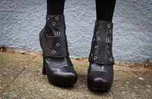 Spats -Black Leather with Gunmetal Grommets