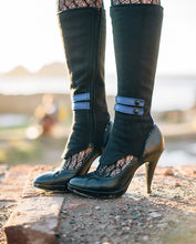 Spats -Black Wool and Sapphire Leather