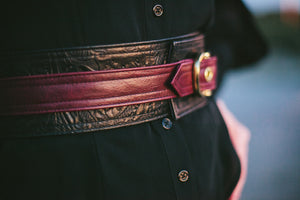 Floral embossed leather obi belt with brass buckle | Leta