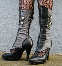 Spats - Herringbone and leather with gathers-Aurelia