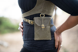 Waxed Canvas Harness with Holster Pouch