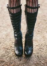 Black leather and grey wool spats with calf garter -Valkyrie