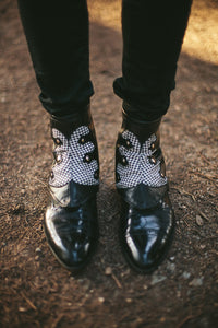 Spats-black and white houndstooth with rivets-Gustav