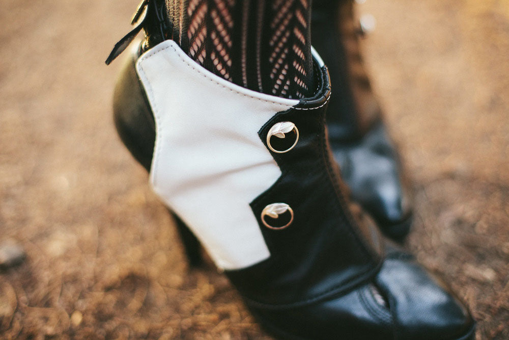 Black and White Leather Spats with Buttons -Zelda