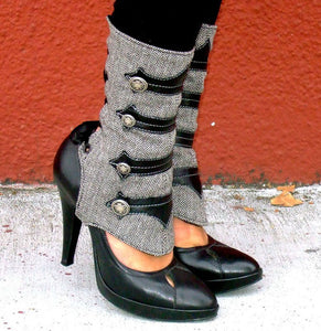Spats -Military-Inspired Leather Applique and Herringbone Spats with Buttons-Isa