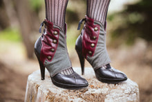 Steampunk Spats -Leather and Wool herringbone-Danae