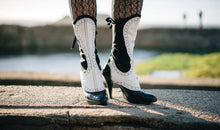 Spats - Black wool and white leather with spectator styling